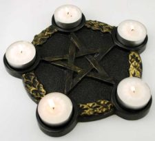pentagram altar plate candle holder