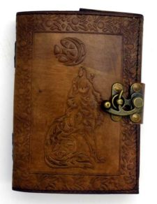 Celtic Wolf Moon Leather Blank Book of Shadows