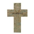 love never fails cross wall plaque